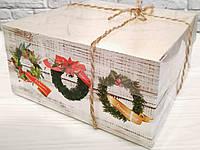 """Коробка для десертів 160*160*80 з прозорою кришкою ПВХ """"Новорічна"""" (БЕЗ ВСТАВКИ), фото 1"""