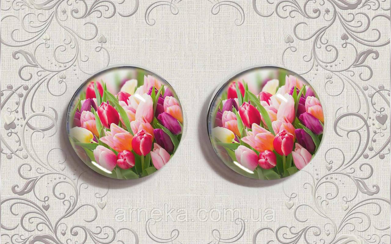 Кабошон епоксидний 2,5 см тюльпани