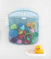 Сетка органайзер для хранения игрушек в ванной Зверушка + 2 вакуумных крючка - Голубая