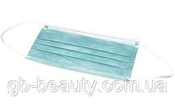 Маска для лица трехслойная одноразовая голубая Dochem (продаётся по 10 шт, цена указана за 1 шт)