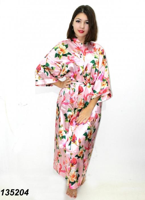 """Длинный шелковый халат """"Цветочный принт"""",розовый 50-52р"""