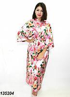 """Длинный шелковый халат """"Цветочный принт"""",розовый 50-52р, фото 1"""