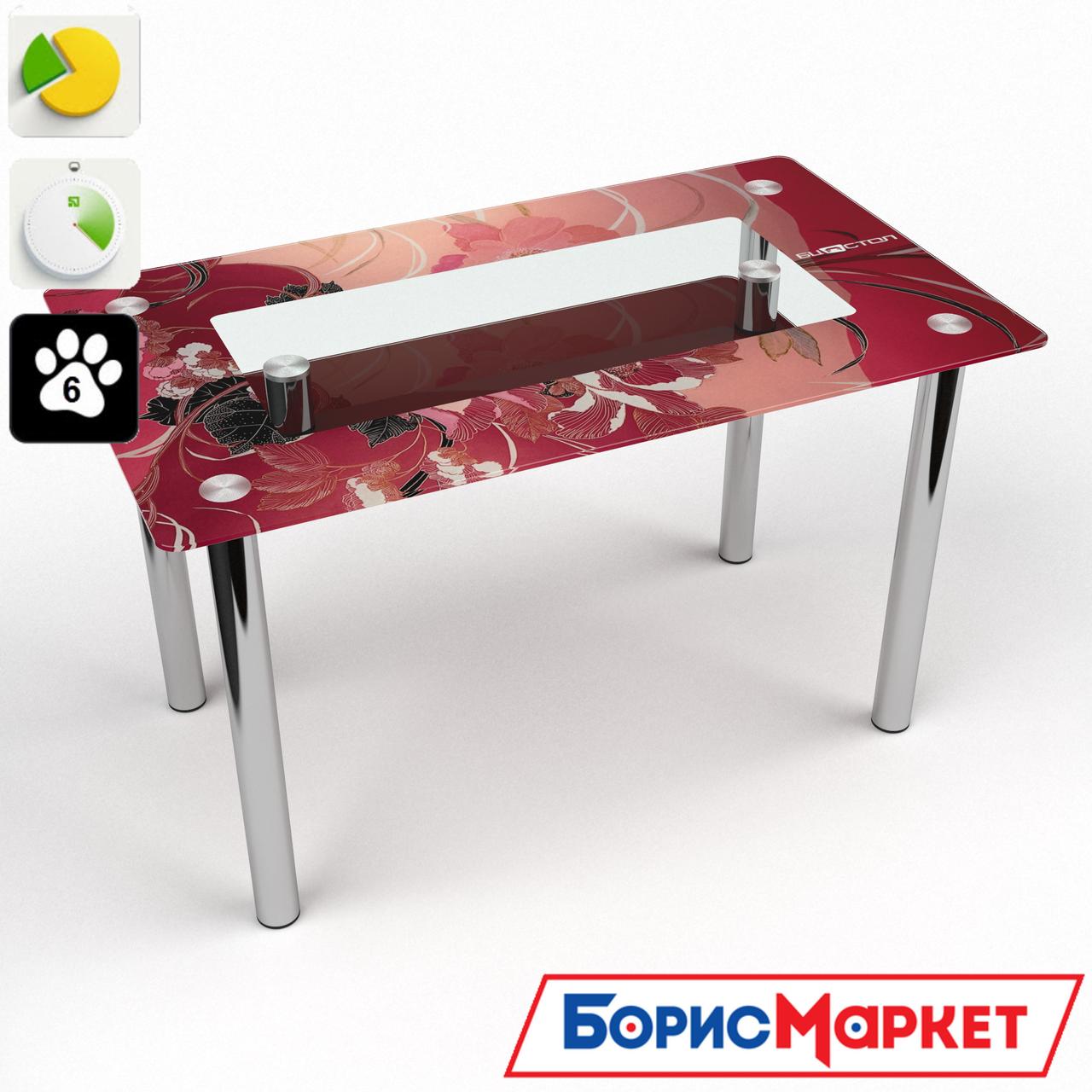 Обеденный стол стеклянный (фотопечать) Прямоугольный с полкой  Fiori rossi от БЦ-Стол