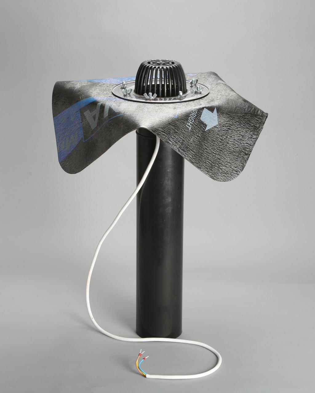 Кровельная воронка с битумным (пвх) фартуком, системой обогрева 110/600 мм