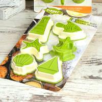 Формы для печенья, набор 6 штук, морская тематика, зеленый