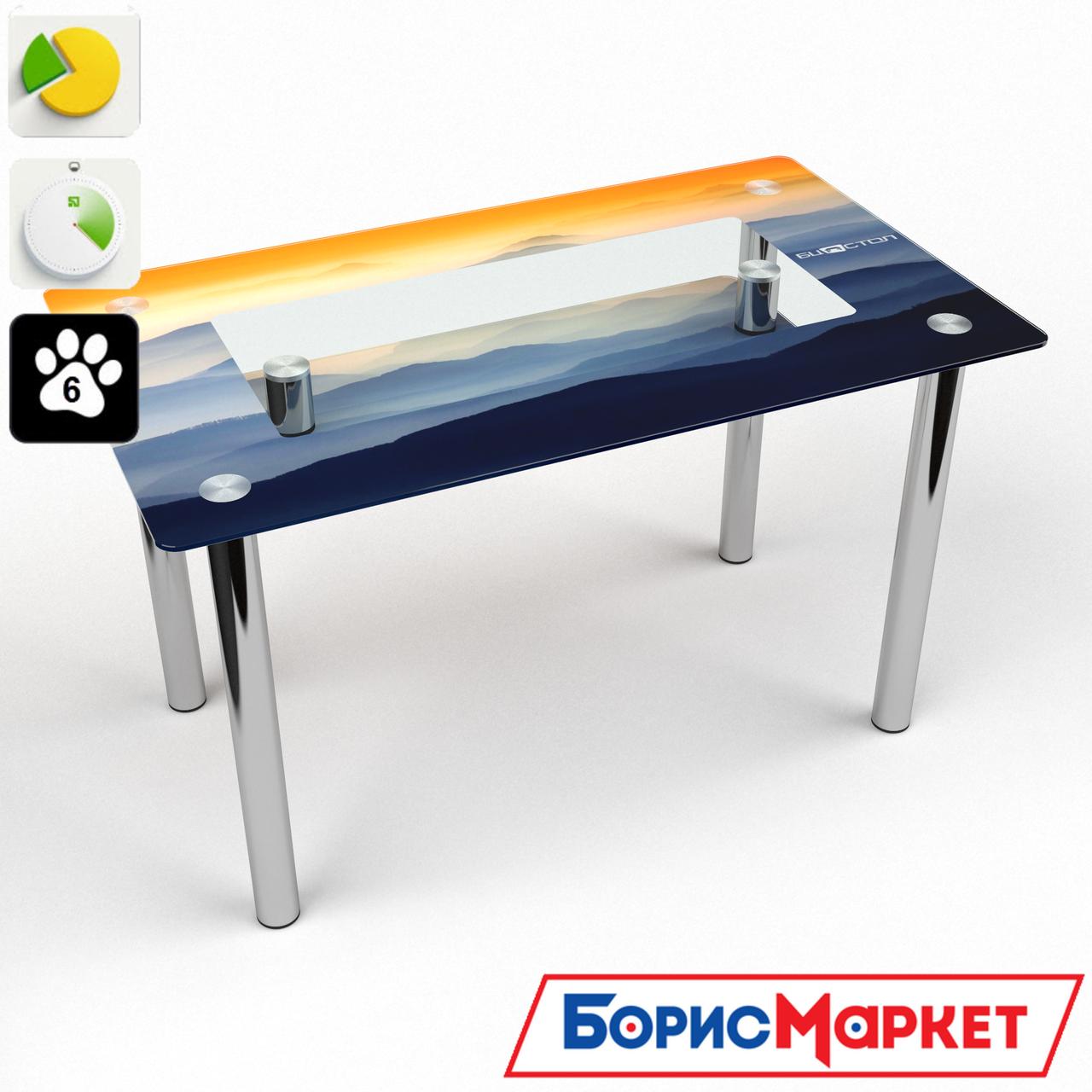 Обеденный стол стеклянный (фотопечать) Прямоугольный с полкой Montagna от БЦ-Стол
