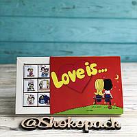 Шоколадный набор Love is на 12 миниплиток красный