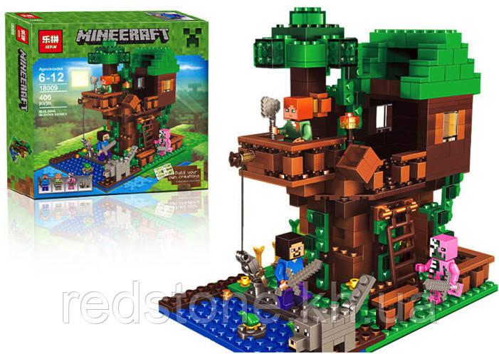 """Конструктор Lepin 18009 ( Lego Minecraft 21125 ) """"Домик на дереве в джунглях"""" 406 дет."""