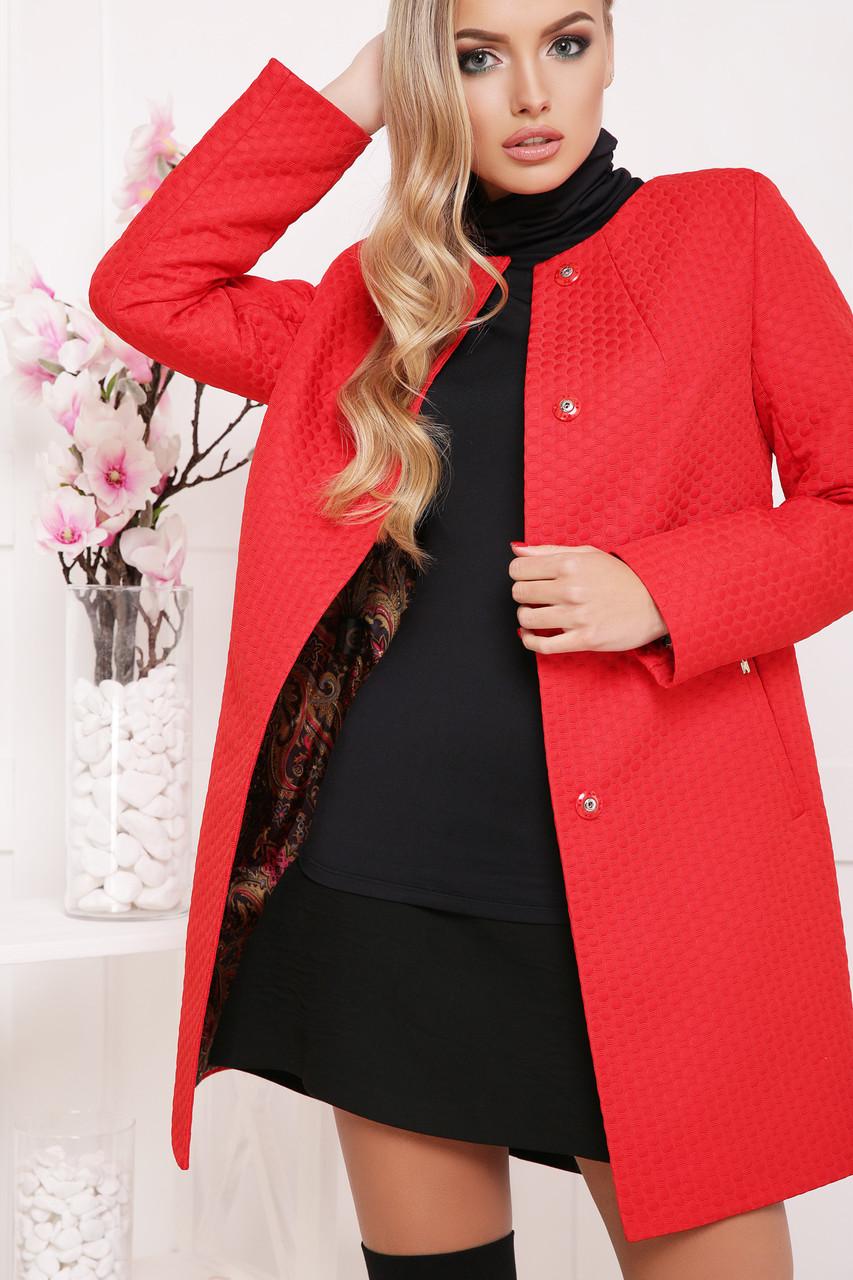 Женское демисезонное пальто красного цвета, размер:42,48