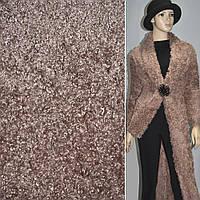 """Мех искусственный коричневый с розовым оттенком под """"барашка"""" ш.160 (21503.005)"""