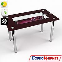 Обеденный стол стеклянный (фотопечать) Прямоугольный с полкой Vinoso от БЦ-Стол