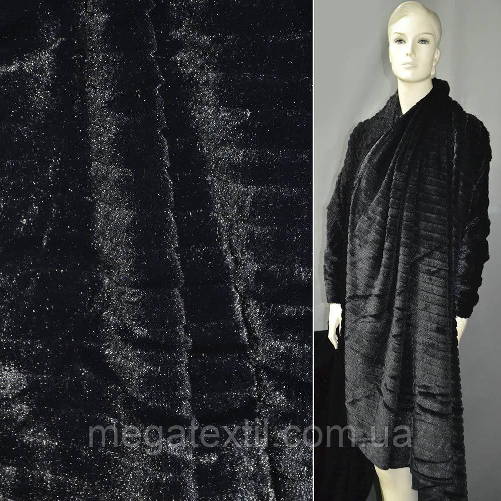 Хутро штучне чорне коротковорсове з смужкою ш.180 (21554.002)