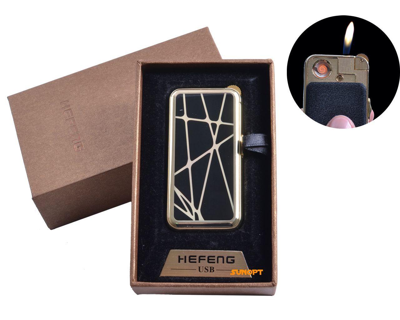 """USB + газовая зажигалка в подарочной упаковке (спираль накаливания, нормальное пламя) """"Абстракция"""" №4818-1"""