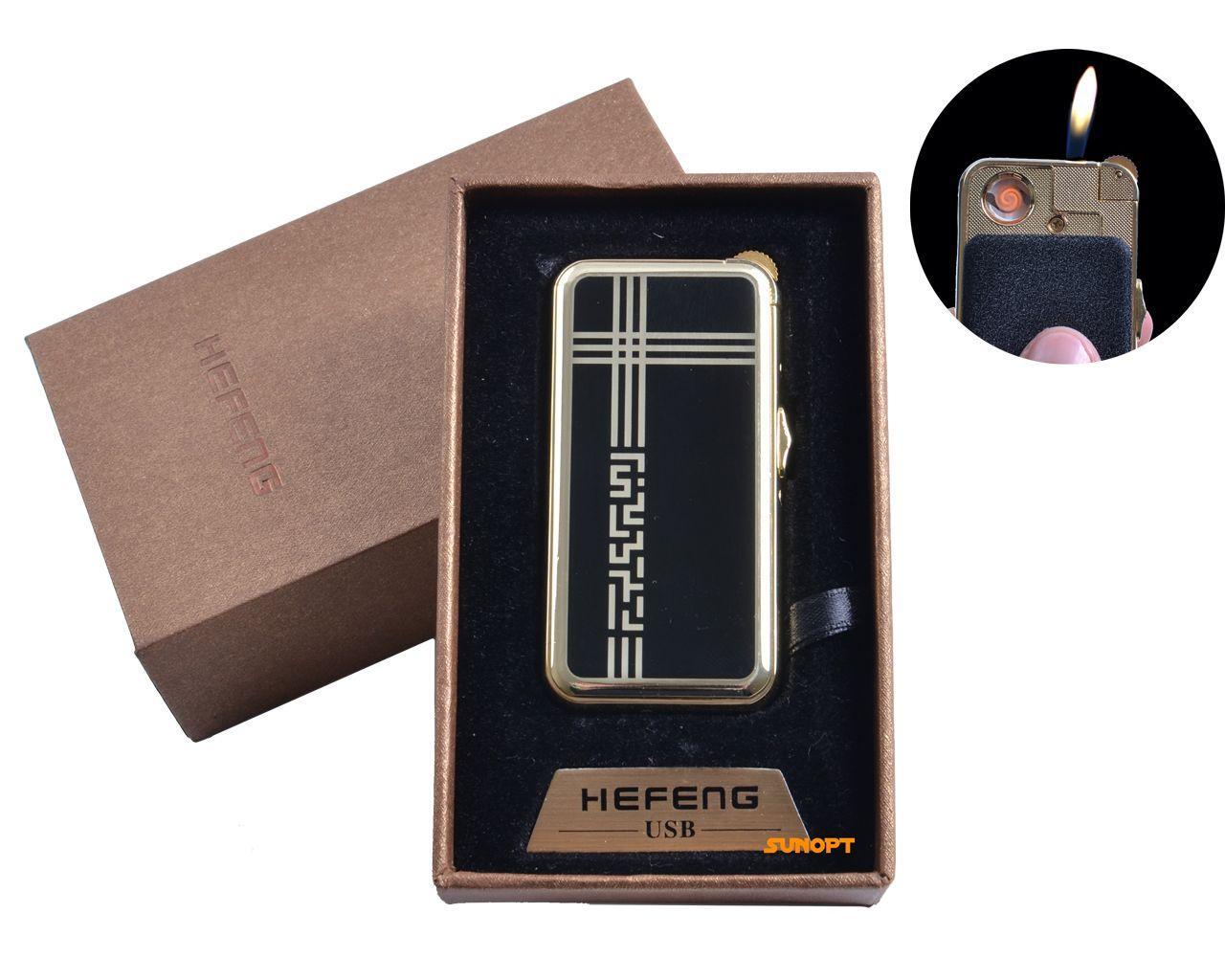 """USB + газовая зажигалка в подарочной упаковке (спираль накаливания, нормальное пламя) """"Абстракция"""" №4818-3"""