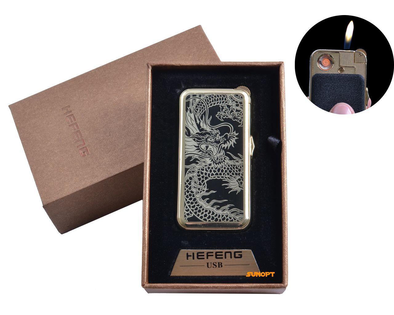 """USB + газовая зажигалка в подарочной упаковке (спираль накаливания, нормальное пламя) """"Дракон"""" №4818-2"""