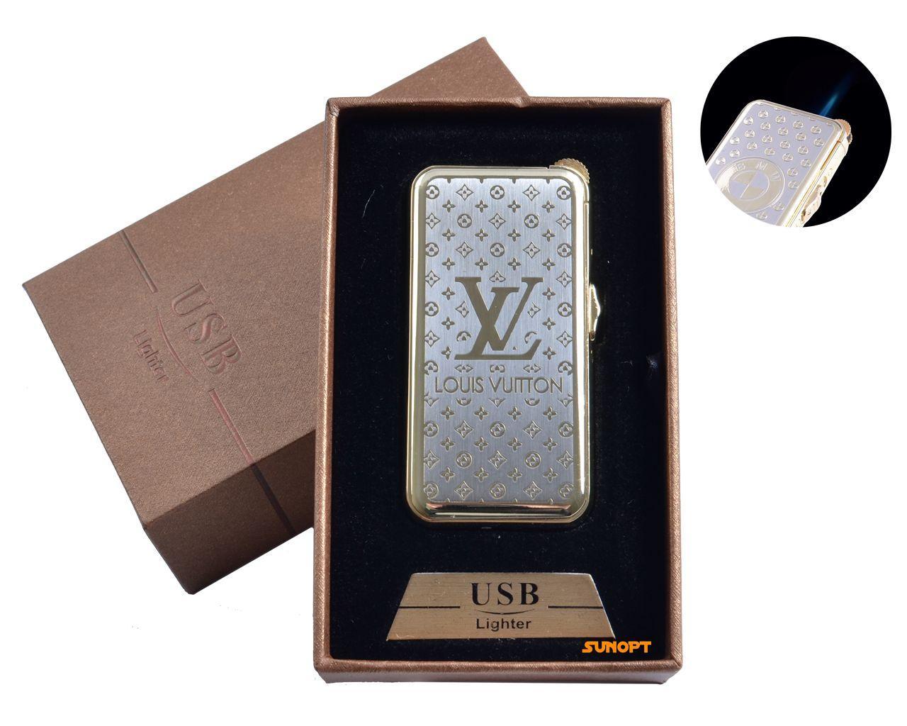"""USB + газовая зажигалка в подарочной упаковке (спираль накаливания, острое пламя) """"Louis Vuttion"""" №4819-1"""