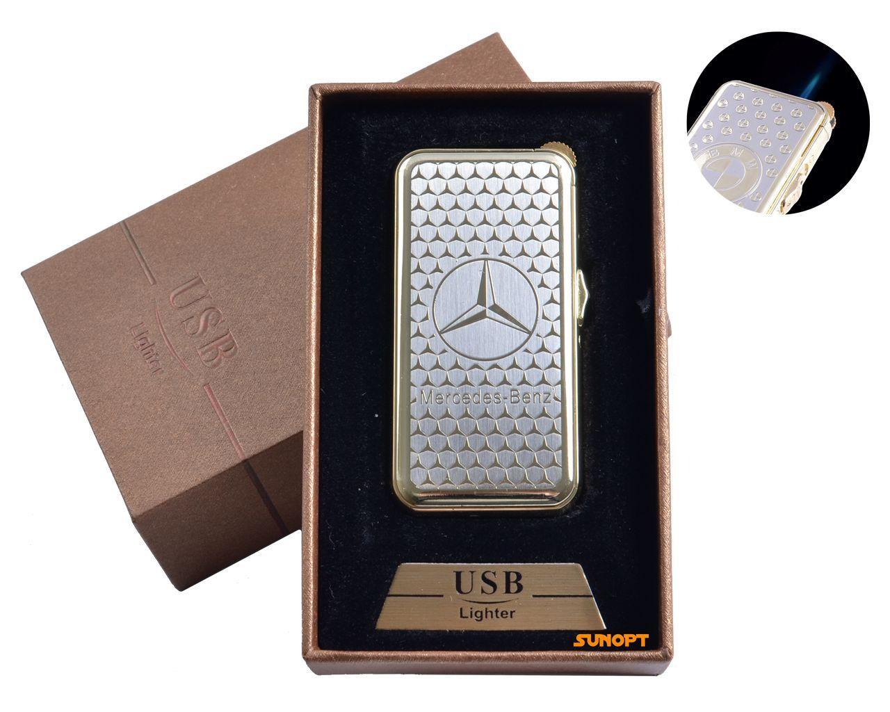 """USB + газовая зажигалка в подарочной упаковке (спираль накаливания, острое пламя) """"Mersedes-Benz"""" №4819-2"""