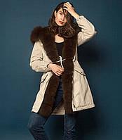 Модная парка женская зимняя с мехом песца под соболя П-IF-4, фото 1