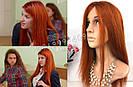 Парик рыжий длинный🔥 ровный из натуральных волос, фото 9