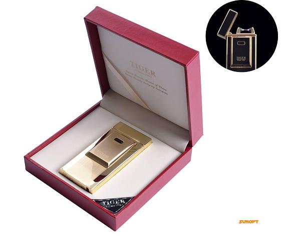 USB зажигалка TIGER (Электроимпульсная) №4686 Gold, фото 2