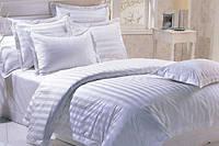 """Полуторное постельное белье сатин """"Белый страйп"""""""