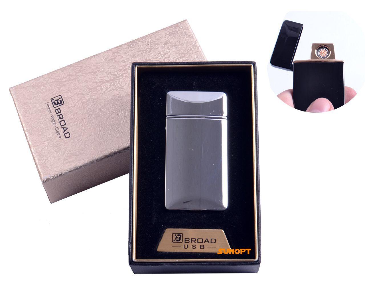 "USB зажигалка в подарочной упаковке ""Broad"" (Двухсторонняя спираль накаливания) №4851 Silver"