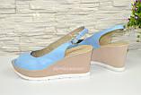 """Босоножки женские голубые кожаные на устойчивой платформе от производителя ТМ """"Maestro"""", фото 2"""