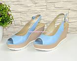 """Босоножки женские голубые кожаные на устойчивой платформе от производителя ТМ """"Maestro"""", фото 3"""