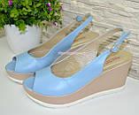 """Босоножки женские голубые кожаные на устойчивой платформе от производителя ТМ """"Maestro"""", фото 4"""