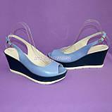 """Босоножки женские голубые кожаные на устойчивой синей платформе от производителя ТМ """"Maestro"""", фото 5"""