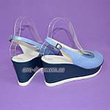 """Босоножки женские голубые кожаные на устойчивой синей платформе от производителя ТМ """"Maestro"""", фото 6"""