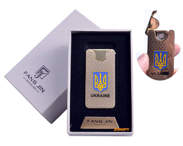 """USB зажигалка в подарочной упаковке """"Герб Украины"""" (Двухсторонняя спираль накаливания) №4795, фото 2"""