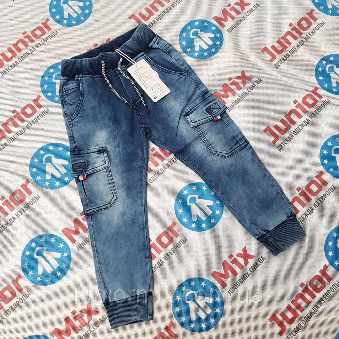 Джинсовые детские брюки для мальчиков с накладными карманами по боках оптом S&D