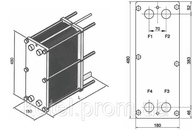 Размеры разборного пластинчатого теплообменника СТА-4