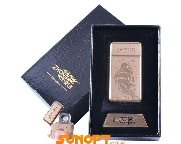 USB зажигалка в подарочной упаковке Парусник (Двухсторонняя спираль накаливания) №XT-4949-4, фото 2
