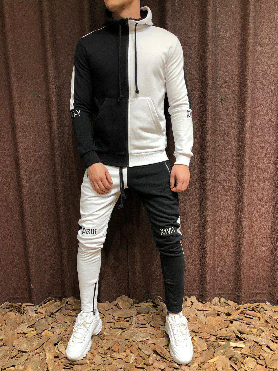 6b59b1f7a80 Мужской спортивный костюм черно-белый SW5073 - Компания