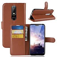 Чехол для Nokia 6.1 Plus / Nokia X6 / TA-1116 5.8'' книжка PU-Кожа коричневый