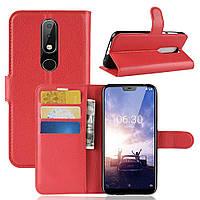 Чехол для Nokia 6.1 Plus / Nokia X6 / TA-1116 5.8'' книжка PU-Кожа красный