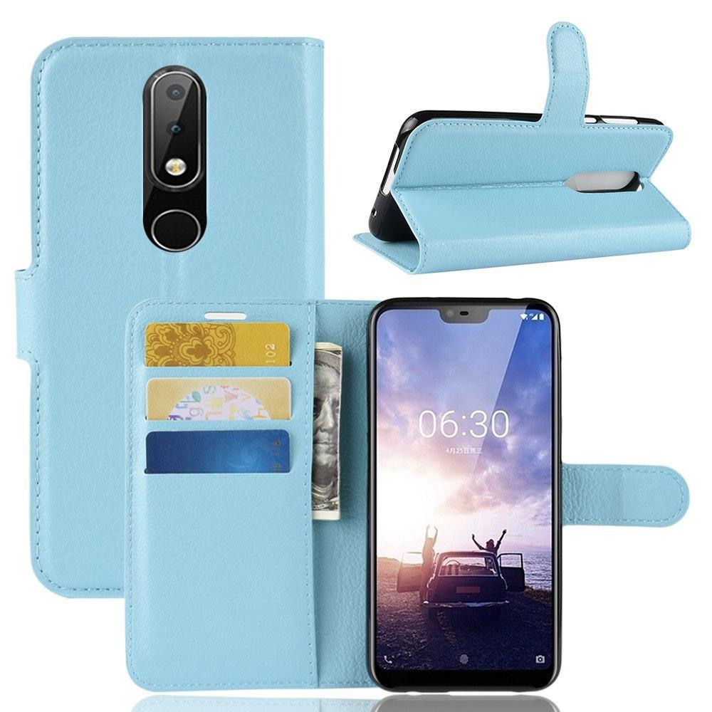 """Чохол для Nokia 6.1 Plus / Nokia X6 / TA-1116 5.8"""" книжка PU-Шкіра блакитний"""