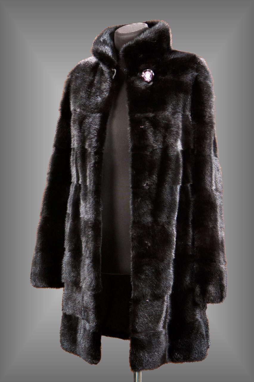 Классическая зимняя норковая женская шуба до колен с воротником-стойкой