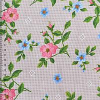 Рогожка набивная бежево-серая с цветущими веточками шиповника ш.150 ( 22801.005 )