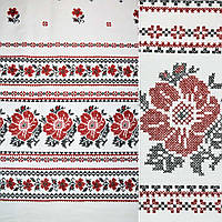 Рогожка набивная светло-серая с 2-ст. купоном вышивка ш.150 ( 22801.013 )