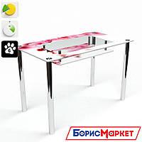 Обеденный стол стеклянный (фотопечать) Прямоугольный с полкой Sakura  от БЦ-Стол
