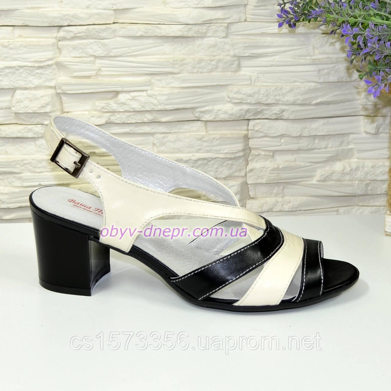 Женские кожаные босоножки на устойчивом каблуке.  Цвет черный и бежевый