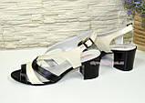 Женские кожаные босоножки на устойчивом каблуке.  Цвет черный и бежевый, фото 3