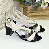 Женские кожаные босоножки на устойчивом каблуке.  Цвет черный и бежевый, фото 4