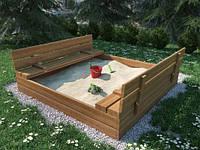 Песочница 120x120 см деревянная, фото 1