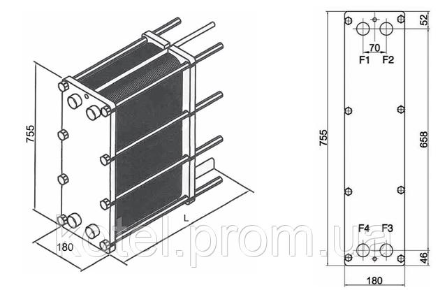 Размеры разборного пластинчатого теплообменника СТА-8