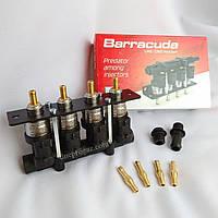 Газовые форсунки ALEX Barracuda, 4 цилиндра, с жиклёрами и штуцерами в коллектор