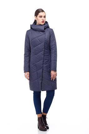 Женское синее пальто демисезонное теплое разные цвета размер 40-52 , фото 2